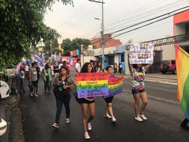 Activistas de la comunidad LGBT hondureña durante una demostración en 2019 en Tegucigalpa. En este país, El Salvador y Guatemala la persecución de que son víctimas les fuerza a buscar el casi imposible asilo en Estados Unidos. Foto: Mirte Postema/HRW