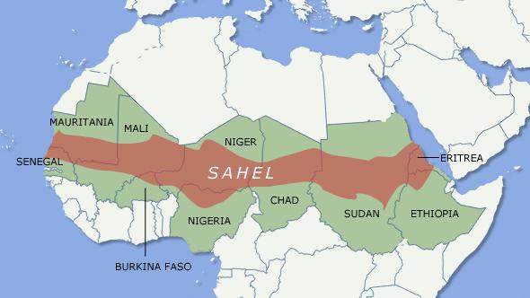 """Mapa de la región del Sahel, que atraviesa el centro de África y que por su incesante crisis se le denomina """"el cinturón del hambre"""" de continente. Imagen: Acción Humanitaria"""