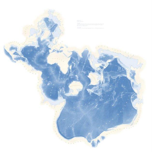 El mapa de Spilhaus muestra los océanos del mundo como si conformaran una única masa de agua. Spilhaus ArcGIS project, CC BY-ND
