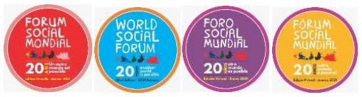 El logo en cuatro idiomas del Foro Social Mundial 2021, con las diferentes regiones del planeta vistas desde el Sur, la mirada alternativa de la sociedad civil mundial. Foto: FSM