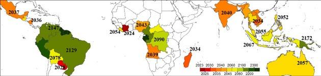 Mapa del Centro Común de Investigación de la UE que muestra el año previsto de desaparición de los bosques en todo el mundo, basándose en las perturbaciones observadas durante la última década. Imagen: UE
