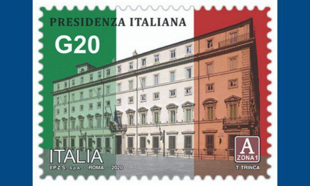 Italia lanzó un sello conmemorativo de su presidencia del Grupo de los 20 durante 2021. Foto: Gobierno de Italia