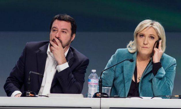 Matteo Salvini, secretario federal del partido ultraderechista italiano Liga, y Marine le Pen, presidenta del partido ultraderechista francés Agrupación Nacional, en una reunión del grupo Europa de las Naciones y de las Libertades, en Milán en 2016. Marco Aprile /Shutterstock