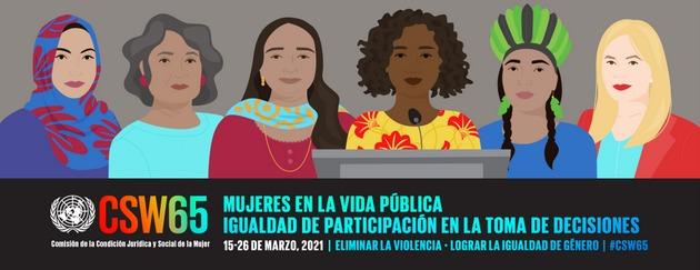 Cartel de la 65 sesión anual de la Comisión de la Condición Jurídica y Social de la Mujer (CSW), que se celebrará del 15 al 26 de marzo. Imagen: ONU Mujeres