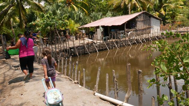 Algunas familias que viven en los caseríos costeros del municipio de San Luis La Herradura han abierto estanques para el aprovechamiento sostenible de la pesca, lo cual fue de gran ayuda para la población local durante los días de cuarentena a causa de la covid-19, en esta zona costera del sur de El Salvador. Foto: Edgardo Ayala /IPS