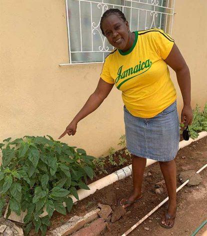 Jaxine Scott muestra algunas verduras que ha plantado en el patio trasero de su casa, en Kingston, la capital de Jamaica. Foto: Kate Chappell / IPS